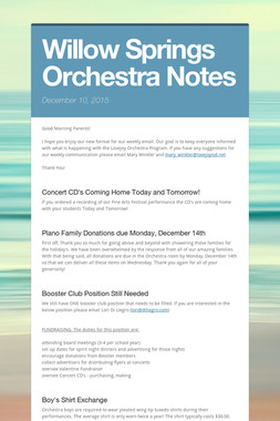 Willow Springs Orchestra Notes