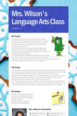 Mrs. Wilson's Language Arts Class