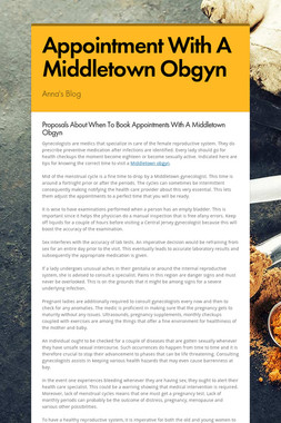 Appointment With A Middletown Obgyn