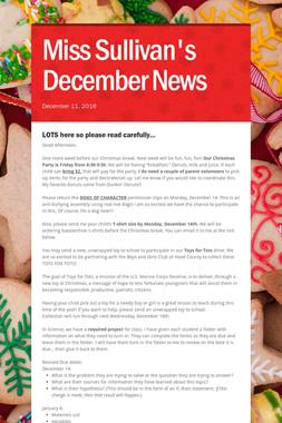 Miss Sullivan's December News
