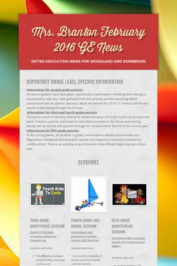 Mrs. Branton February 2016 GE News