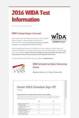 2016 WIDA Test Information