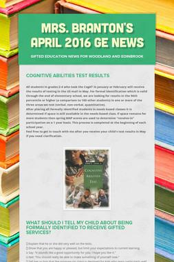 Mrs. Branton's April 2016 GE News