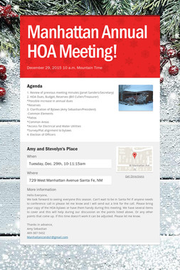 Manhattan Annual HOA Meeting!