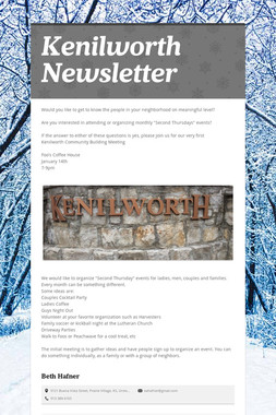 Kenilworth Newsletter