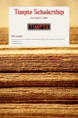 Timpte Scholarship