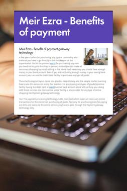 Meir Ezra - Benefits of payment