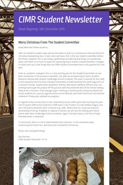 CIMR Student Newsletter
