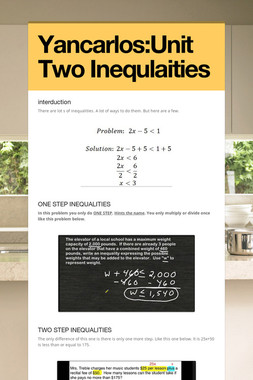 Yancarlos:Unit Two Inequlaities