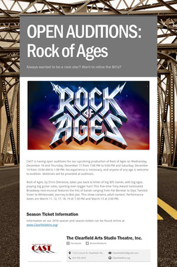 OPEN AUDITIONS:  Rock of Ages