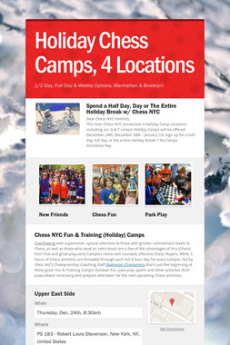Holiday Chess Camps, 4 Locations