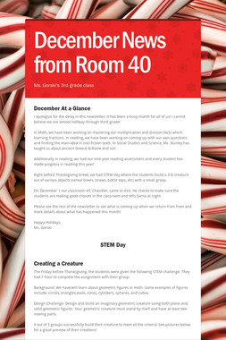 December News from Room 40