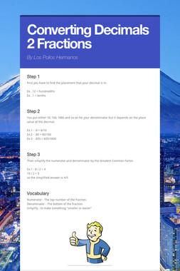 Converting Decimals 2 Fractions
