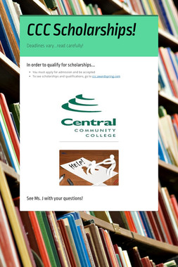 CCC Scholarships!