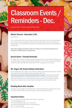 Classroom Events / Reminders - Dec.