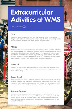 Extracurricular Activities at WMS