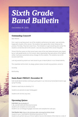Sixth Grade Band Bulletin