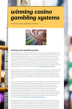 winning casino gambling systems