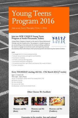 Young Teens Program 2016