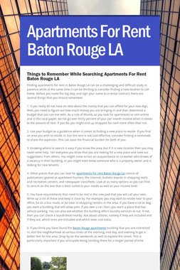 Apartments For Rent Baton Rouge LA