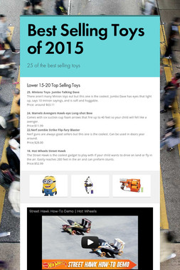 Best Selling Toys of 2015