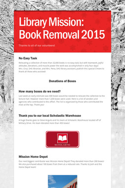 Library Mission:  Book Removal 2015