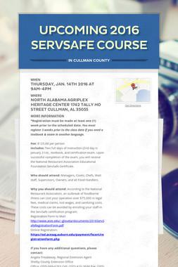 Upcoming 2016 ServSafe Course