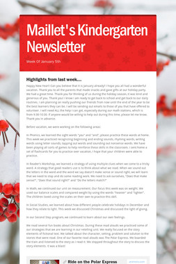 Maillet's Kindergarten Newsletter