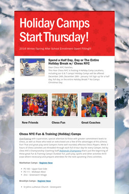 Holiday Camps Start Thursday!