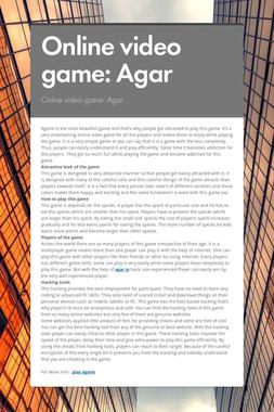 Online video game: Agar