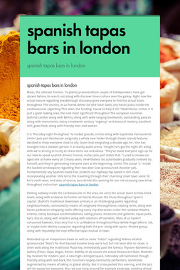 spanish tapas bars in london