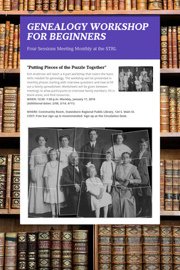 GENEALOGY WORKSHOP FOR BEGINNERS