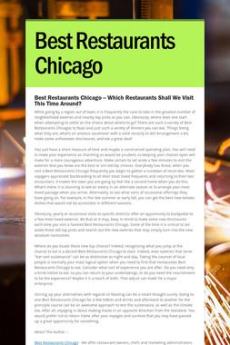 Best Restaurants Chicago