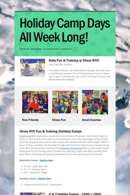 Holiday Camp Days All Week Long!