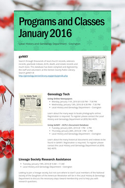 Programs and Classes January 2016