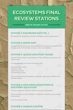 Ecosystems Final Review Stations