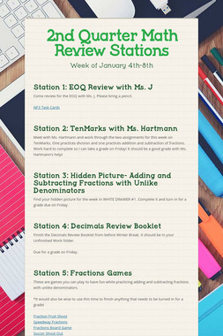 2nd Quarter Math Review Stations