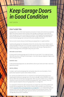 Keep Garage Doors in Good Condition