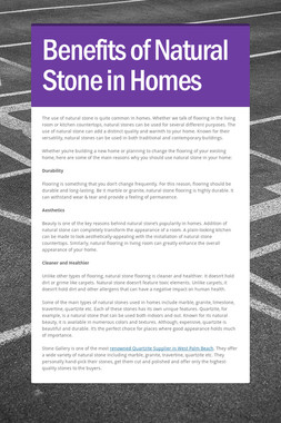 Benefits of Natural Stone in Homes
