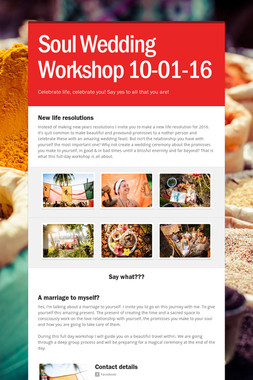 Soul Wedding Workshop 10-01-16