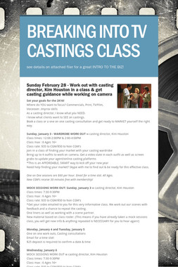 BREAKING INTO TV CASTINGS CLASS