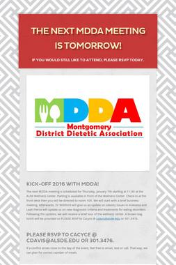 The Next MDDA Meeting is Tomorrow!