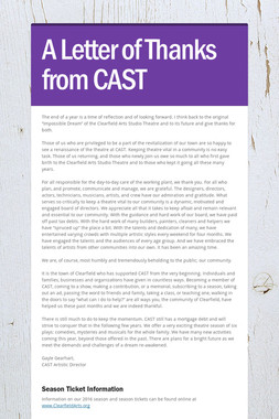 A Letter of Thanks from CAST