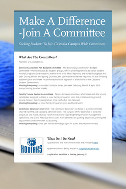Make A Difference -Join A Committee