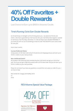 40% Off Favorites + Double Rewards