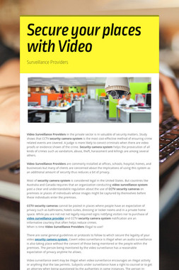 Secure your places with Video
