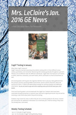 Mrs. LeClaire's  Jan. 2016 GE News