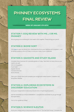 PHINNEY Ecosystems Final Review