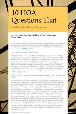 10 HOA Questions That