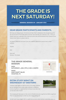 The Grade is next Saturday!